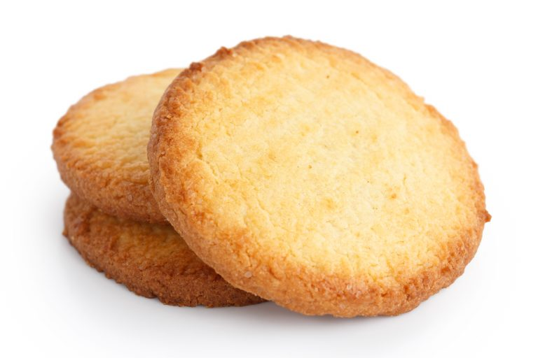 Three butter biscuits on white.